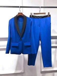 Комплекты дизайнерской одежды наивысшего качества, весна 2020, Женский блейзер на одной пуговице, пиджак + брюки до щиколотки, комплекты для ж...