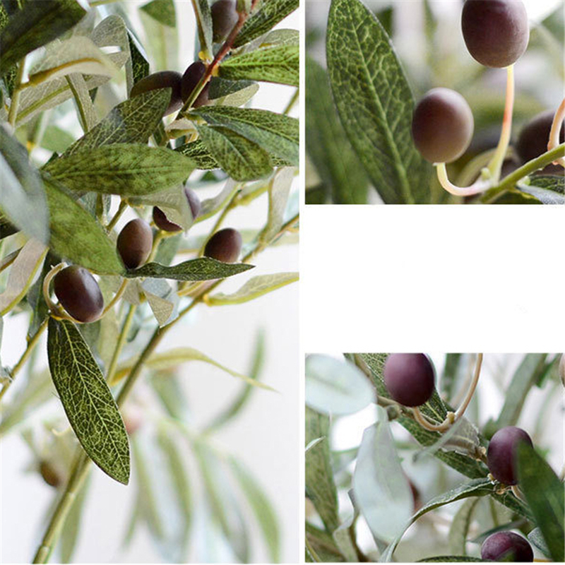 10pcs Artificial Olive Trees Decorative Flowers Artificial Oil Olive Tree Branches Leaf With Fruit 72cm Fleur Artificielle