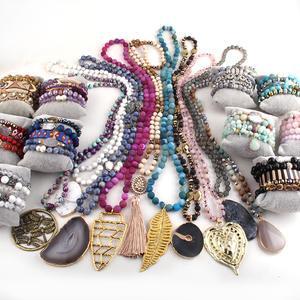 Wholesale 10pc Blue Mix Color Necklace & 10 Bracelet Set Fashion Jewelry Handmade For