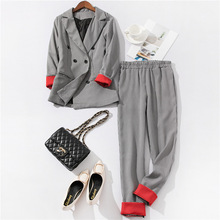 Chic costume Autumn Double Breasted Office Ladies Plaid Blazer suits se