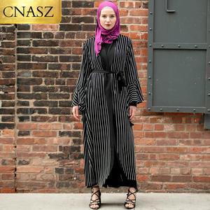 New Arrivals Elegant Adult Muslim Open Abaya Wide Cut Sleeves Striped Cardigan Dubai Abaya Long Gown Fashion Abaya For Women