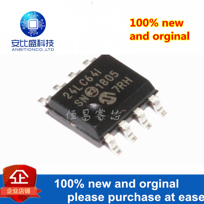 10pcs 100% New And Orginal 24LC64T-IS/N 24LC64-1/SN 24LC64  64Mbits Sop8 In Stock