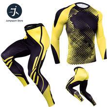 Компрессионная футболка комплект леггинсов для мужчин бега Спортивная