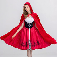 Little Red Riding Hood Costume Halloween Cosplay Uniform Adult Cape Role Playing Costume Red Cloak Dress Disfraces Hallow DB1066