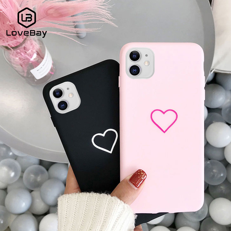 Lovebay Lovely Phone Case For iPhone 11 Pro 6 6s 7 8 Plus X XR XS Max Cute Cartoon Simple Love Heart Soft TPU Back Cover Cases