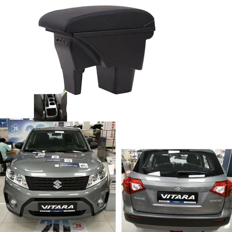 Для Suzuki Vitara подлокотник центральной коробка для хранения автомобильные аксессуары подлокотники с USB СВЕТОДИОДНЫЙ светильник прост в устан...