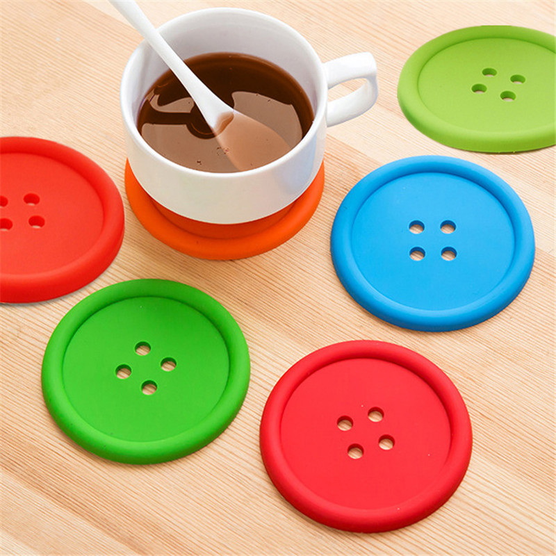 Silicone Coaster Cushion Table-Protector Placemat Coffee-Mug Glass Round Button-Decor title=