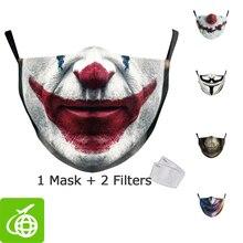 Halloween engraçado coringa rosto impressão máscaras crianças lavável tecido máscaras mulheres adulto rosto capa reutilizável moda fora máscara