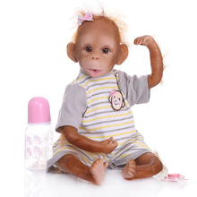 about 18'' 1.5kg monkey girl baby Silicone Reborn Toddler Baby Doll Toys Alive Bebe reborn doll lifelike acrylic eyes kids gift недорого