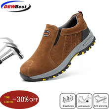dewbest Steel Toe Safety Work Shoes Men Fashion Summer Breathable Slip On Casual Boots
