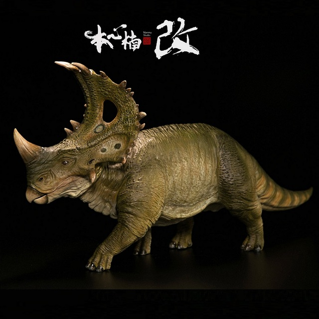Di Colore verde Versione Nanmu 1:35 Torre Scudo Dinosaurus Giocattoli Sinoceratops Con Figura Umana Animale Giocattolo Per I Ragazzi di Raccolta