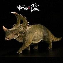Yeşil renk versiyonu Nanmu 1:35 kulesi kalkan Dinosaurus oyuncaklar Sinoceratops ile insan figürü hayvan oyuncak Boys koleksiyon