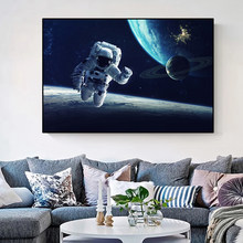 Planets of the galaxy and astronauts traveling in space, canvas paintings and posters decorated with pictures of families
