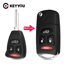 KEYYOU 3+1Buttons Car Key Case Car Cover Fob For Chrysler 300 300C Pacifica Stratus For Dodge For Jeep Cherokee Grand