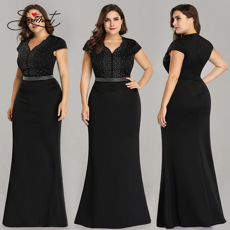 OLLYMURS New Elegant Woman Evening Gown Plus Size V-neck Rhinestone Knitted Slim-fit Fishtail Evening Dress