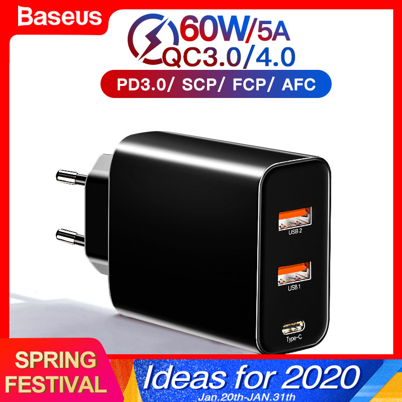 Baseus <font><b>60w</b></font> Quick Charge 4.0 3.0 Multi <font><b>USB</b></font> <font><b>Charger</b></font> For iPhone Samsung iPad Pro Macbook SCP QC4.0 QC3.0 QC Type C PD Fast <font><b>Charger</b></font> image