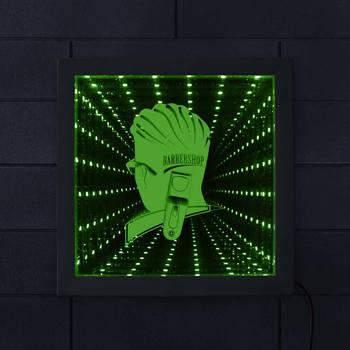 Berber Dükkanı Infinity Ayna Ahşap Çerçeve Berber Iş Işareti Saç Kesme Kuaför Çarpıcı Optik Illusion LED Resim Çerçevesi