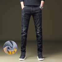 Big Size 36 38 Men Warm Jeans 2019 Winter New Fashion Casual High Quality Fleece Elastic Straight Thick Trousers Jeans Male,C818