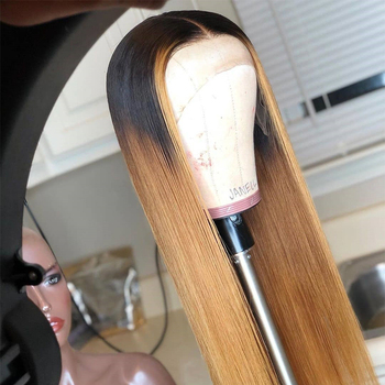 Deep Part Straight Ombre Brown With Honey Color Lace front Human Hair Wigs Pre Plucked hairline Brazilian Remy with Baby Hair