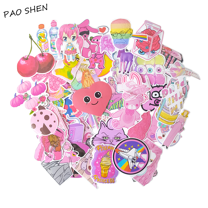 64PCS PVC Waterproof Kawaii Vsco Pink Girl Funny Cute Sticker Luggage Tag Motorcycle And Suitcase Cool Fashion Notebook StickerS