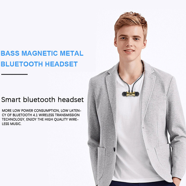 Sports magnet Stereo Bluetooth Earphone With HD Mic Wireless Sport Headset Earbuds For Android IOS 1