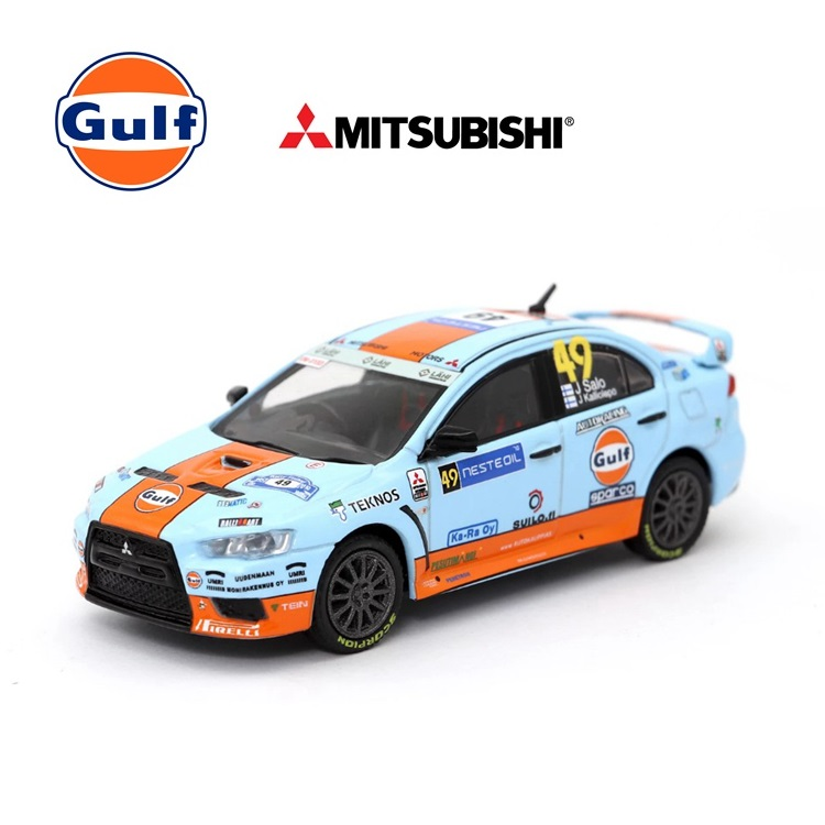 Tarmac Work 1:64 Mitsubishi Lancer Evo X Gulf Rally Finland 2010 Diecast Model Car