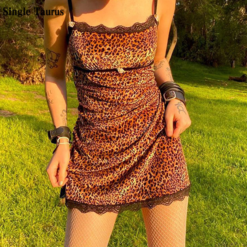Mini Dress Female Leopard Print Lace Sheath Dress Streetwear Slim Skinny Vestido De Mujer Slash Spaghetti Strap Bodycon Dress