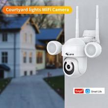 Tuya projetor pátio iluminação câmera tuyasmart ptz 3mp ao ar livre wifi ip ir ip66 à prova dwaterproof água casa jardim cctv segurança cam