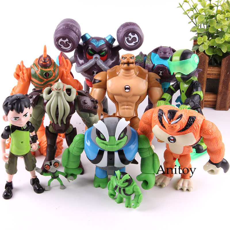 Anime Tennyson Rath Heatblast Vilgax Humongousaur With LED Light Action Figure PVC Collection Model Toy 11pcs/set