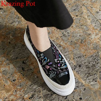 comfortable embroider slip on mixed colors Chinese style round toe high heel women sneakers casual concise vulcanized shoes L33