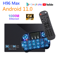 H96 Max Android Tv Box 1000M Ethernet 8K Decoder 4K Ultra Hd Yotube Media Player Google Spielen HDR 4G 8G Tv Set-Top Box Android 11