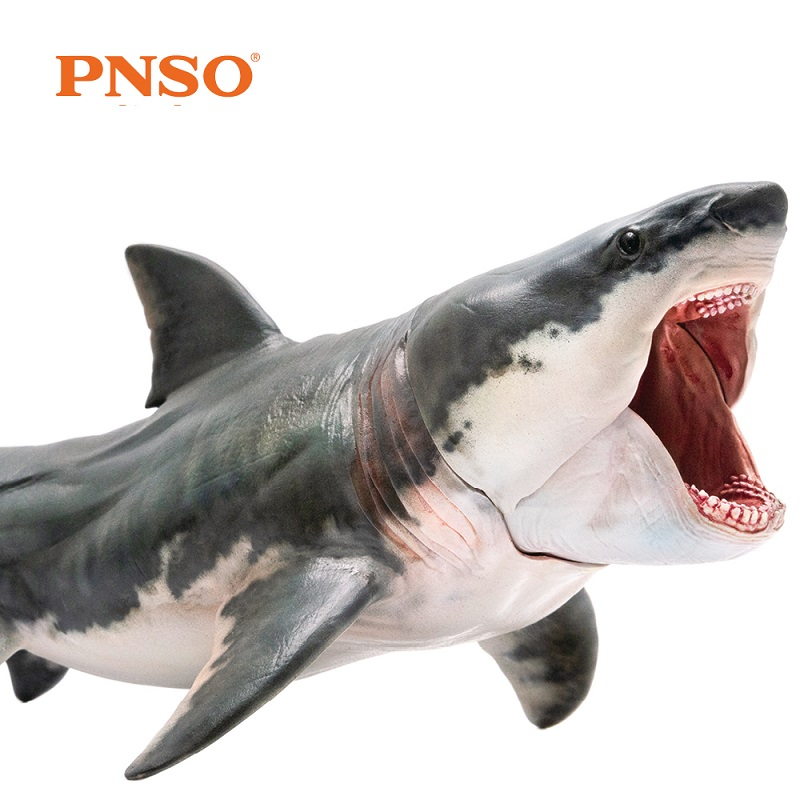 New Arrival PNSO Megalodon Shark Sea Life Classic Toys For Children Boys Ancient Animal Figure Model Movable Jaw