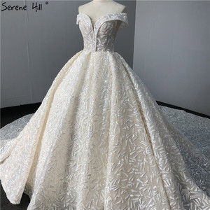 Image 4 - Sequined Sparkle Off Shoulder Bride Gown 2020 Ivory Luxury Vintage Sleeveless Sexy Wedding Dresses BHA2317 Couture Dress