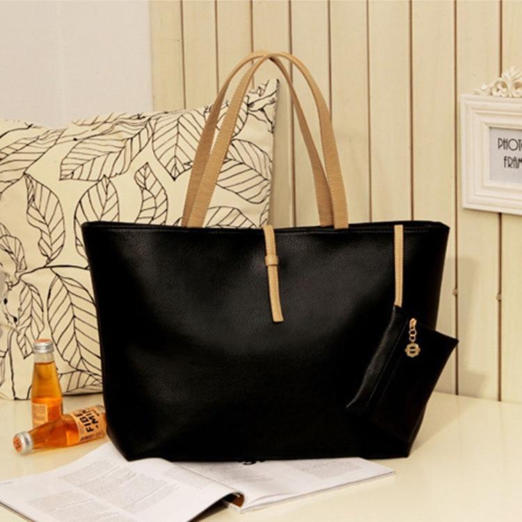 Fashion Wild Bag Buckle Female Bag PU Leather Handbag Brief Shoulder Bags Gray Black Large Capacity Luxury Tote Shopping Bag