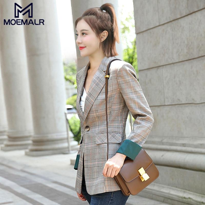 Korean Gray Plaid Ladies Blazer Vintage Loose Casual Stylish Suit Jacket Abrigos Office Spring Women Blazer Plus Size MM60NXZ