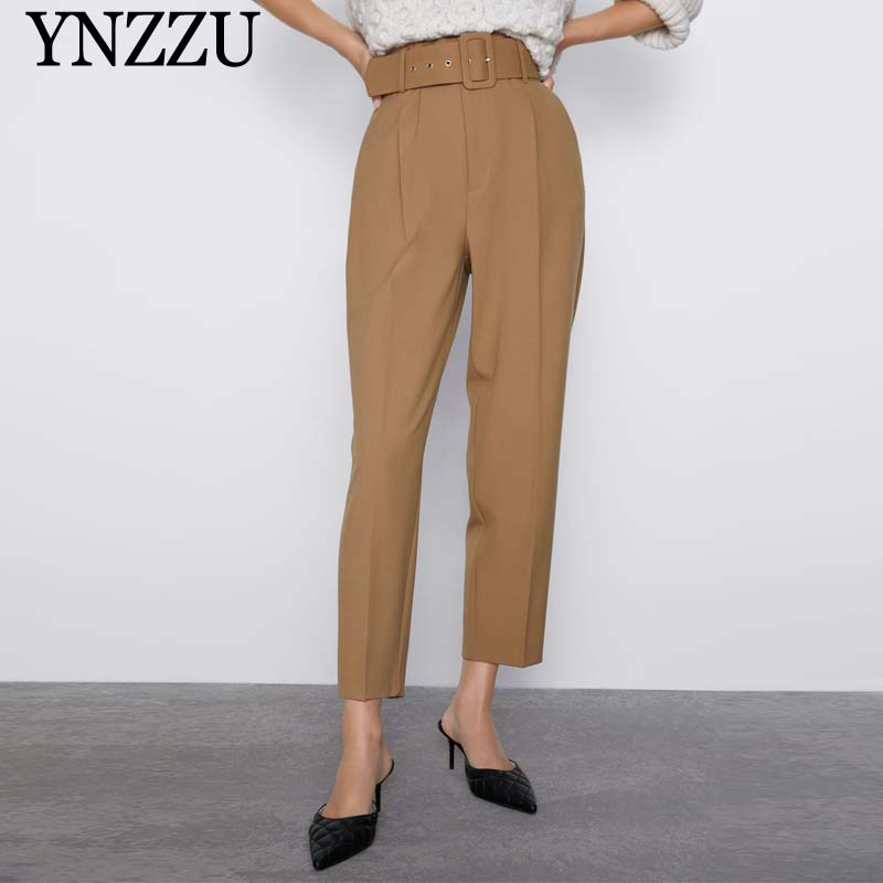 2019 Women Spring Autumn High Waist Pants Purple Belt Loose Long Pants Good Quality Women Harem Pants New Arrival YNZZU YB388