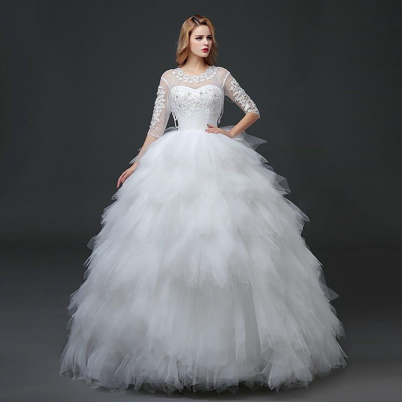 2020 Sale High Half Watteau Train A-line New Wholesale Wedding Dresses Bride Neat, Korean Show Thin Shoulders Sleeve Lace Dress