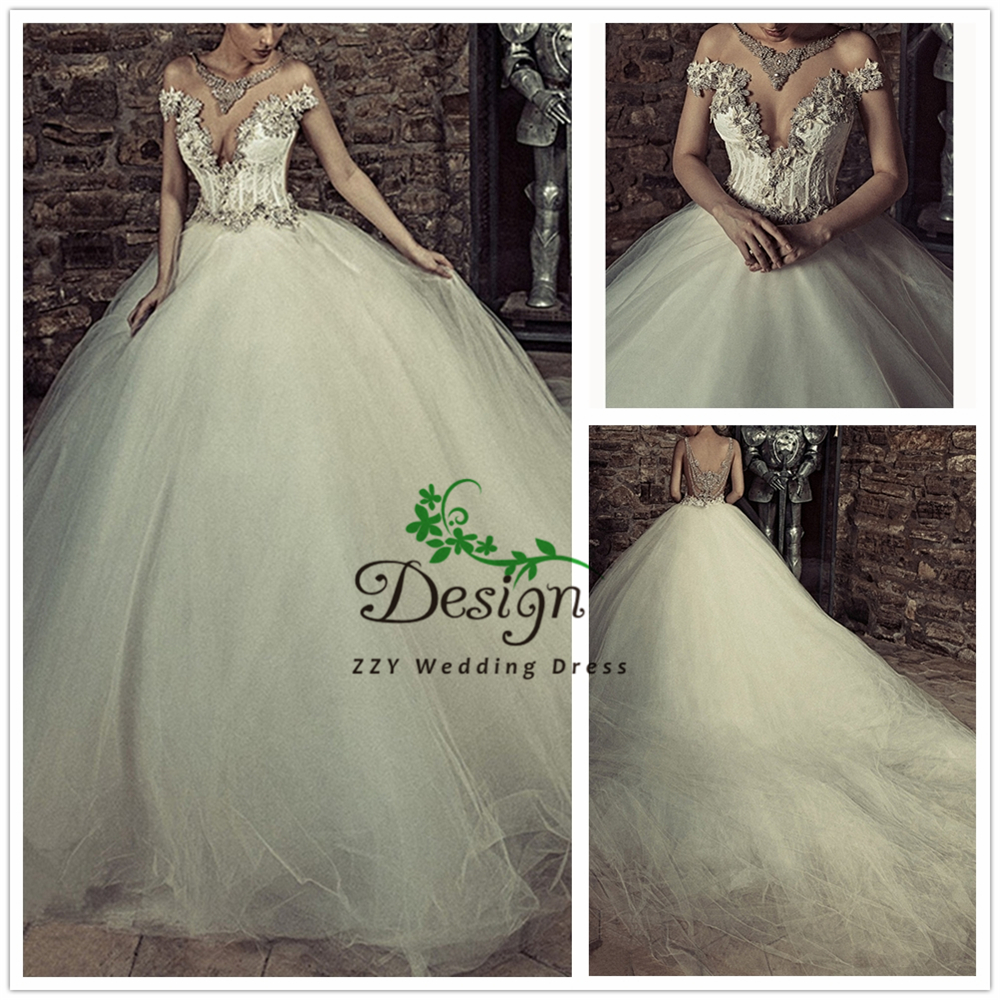 Vintage Ivory Spaghetti Straps Appliques Tulle Turkish Wedding Dresses Lace-Up Wedding Dresses 2019 Princess With Chapel Train