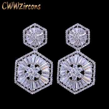 CWWZircons Top Quality 925 Sterling Silver Pin Luxury Cubic Zirconia Earring for Women Wedding Bridal Gift Jewelry CZ127
