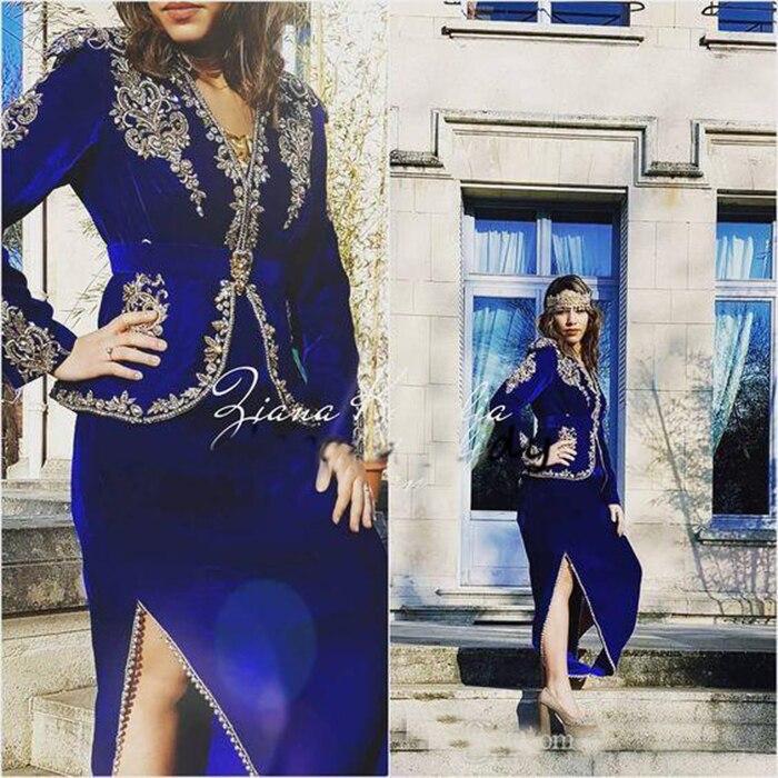 Royal Blue Formal Evening Dresses With Long Sleeves 2019 Gold Lace Velvet Dubai Arabic Tea-length Mother Of The Bride Dresses