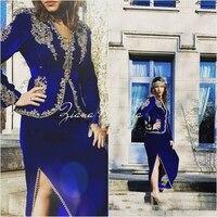 Royal Blue Formal Evening Dresses With Long Sleeves 2019 Gold Lace Velvet Dubai Arabic Tea length Mother of the Bride Dresses