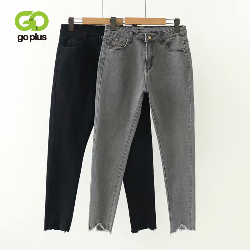 GOPLUS Korean Style Women Jeans Large Size High Waist Gray Black Jeans Skinny Jeans Woman Pencil Pants Grande Taille Femme C9561