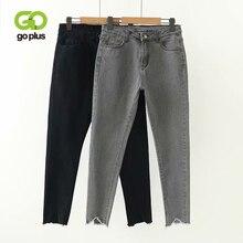 GOPLUS Korean Style Women Jeans Large Size High Waist Gray Black Jeans