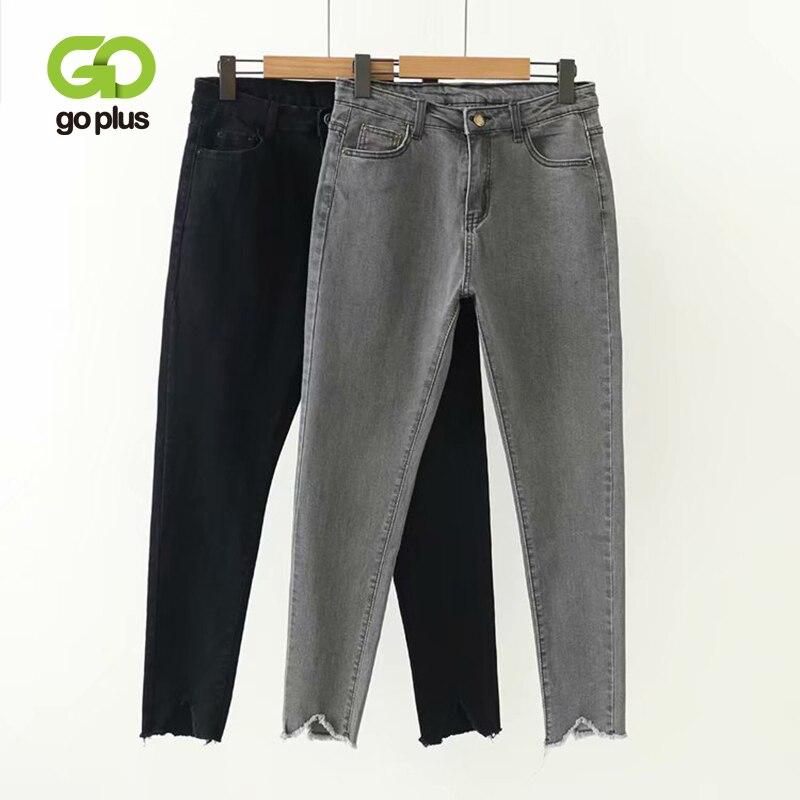 GOPLUS Style coréen femmes jean Grande Taille Taille haute gris noir jean slim jean Femme crayon pantalon Grande Taille Femme C9561