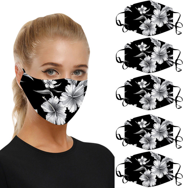 5pcs reusable mask Care face washable pm25 Anti-pollution facial masks flu Washable 3D Ice Silk Cotton Earloop Mask Mouth cap