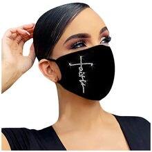 Masque facial tendance pour femmes, Anti-Virus, Infections, perceuse d'extérieur, Masque en coton glacé respirant, Masque de protection, 1 pièce, Noir, Lavable