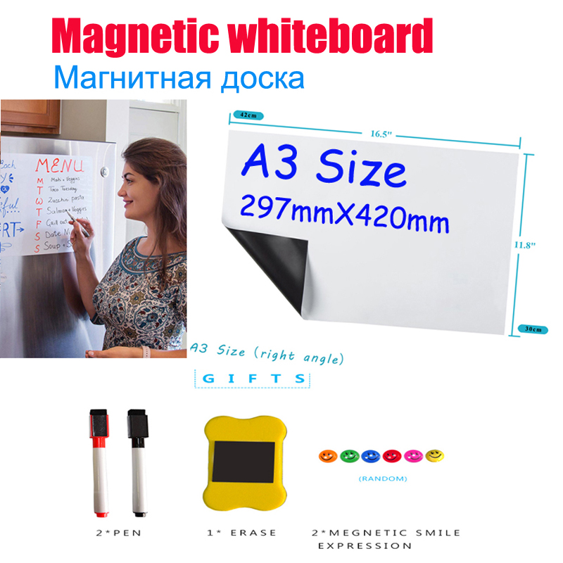 YIBAI A3 Magnetic Whiteboard Soft Home Office Kitchen Dry Erase White Boards Flexible Fridge Magnet Board Free Gift 29.7*42cm