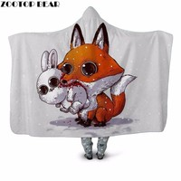 3D Print Lighter Kangaroo Eating Rabbit Hooded blanket Office Scattering Petals White Dream Girls Fashion Plush