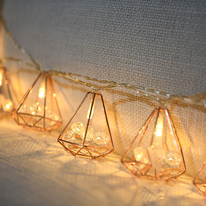 Fairy Geometric Diamond With Rose Acrylic Battery USB String Lights 3m LED Decor For Christmas Garland On The Window New Year