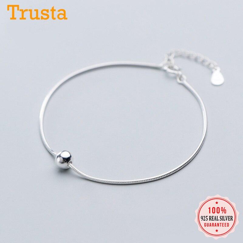 Trustdavis Authentic 100% 925 Sterling Silver Fashion Beads Snake Chain Anklets Bracelet For Women Wife Best Friend Gift DA1112